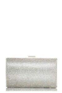Quiz Silver Diamante Shimmer Box Bag