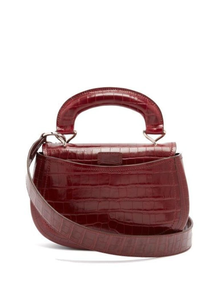 Lemaire - Pumpkin Crocodile Effect Leather Bag - Womens - Burgundy