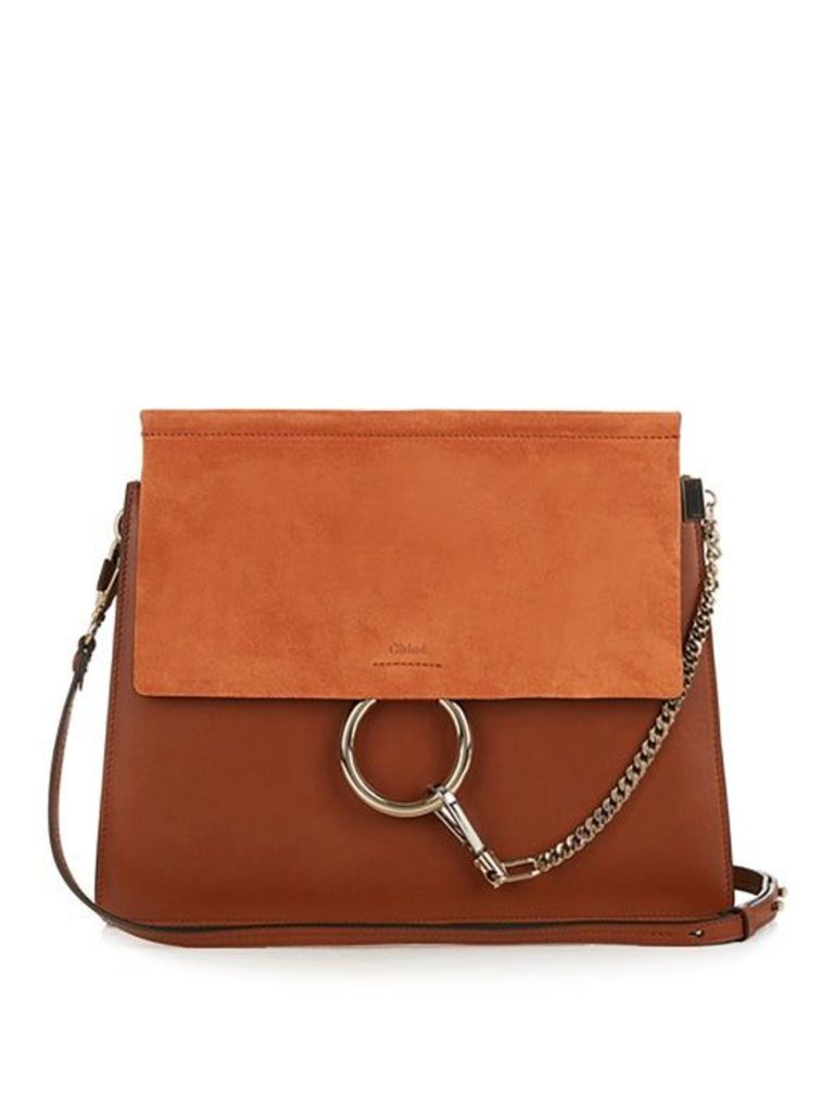 Chloé - Faye Medium Leather And Suede Shoulder Bag - Womens - Tan