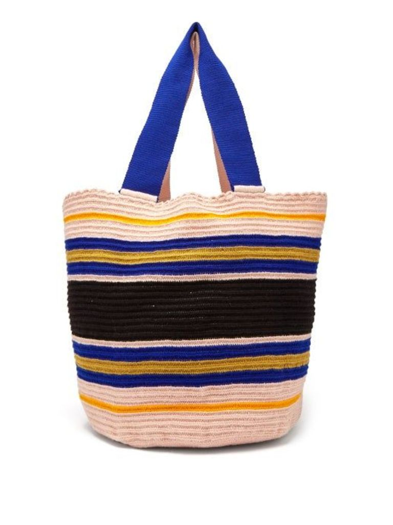 Sophie Anderson - Woven Crochet Tote Bag - Womens - Blue Multi