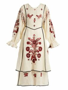 Vita Kin - Country Bird And Floral Embroidered Linen Dress - Womens - Cream Multi