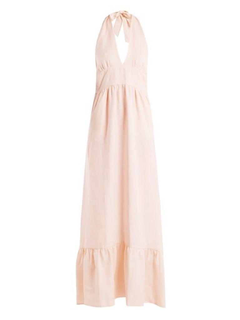 Loup Charmant - Farrah Halterneck Linen Dress - Womens - Light Pink
