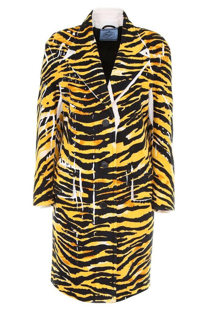 Prada Linea Rossa Tiger New Denim Coat With Patch