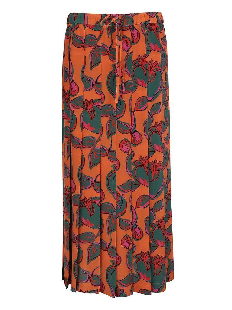 Aspesi Leaf Printed Pleated Skirt