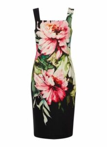 Womens *Roman Originals Black Floral Print Square Neck Bodycon Dress- Black, Black