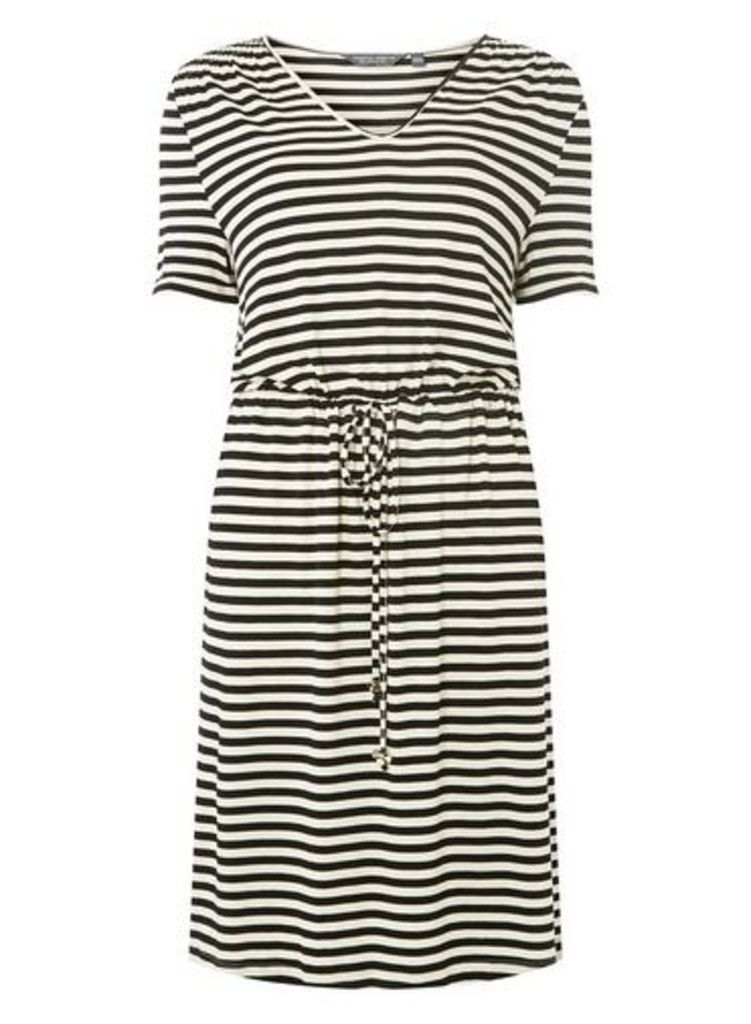 Womens **Tall Black And Cream Striped Skater Dress- Black, Black