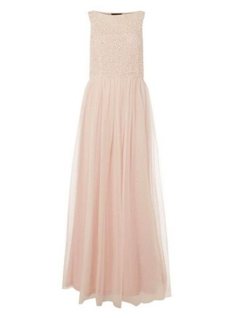 Womens **Showcase Blush Sequin And Pearls 'Harper' Maxi Dress- Pink, Pink