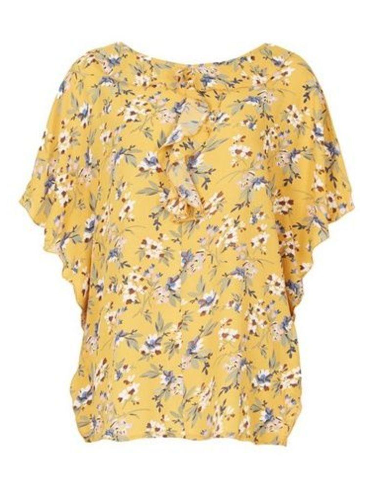 Womens *Tenki Yellow Floral Ruffle Blouse- Yellow, Yellow