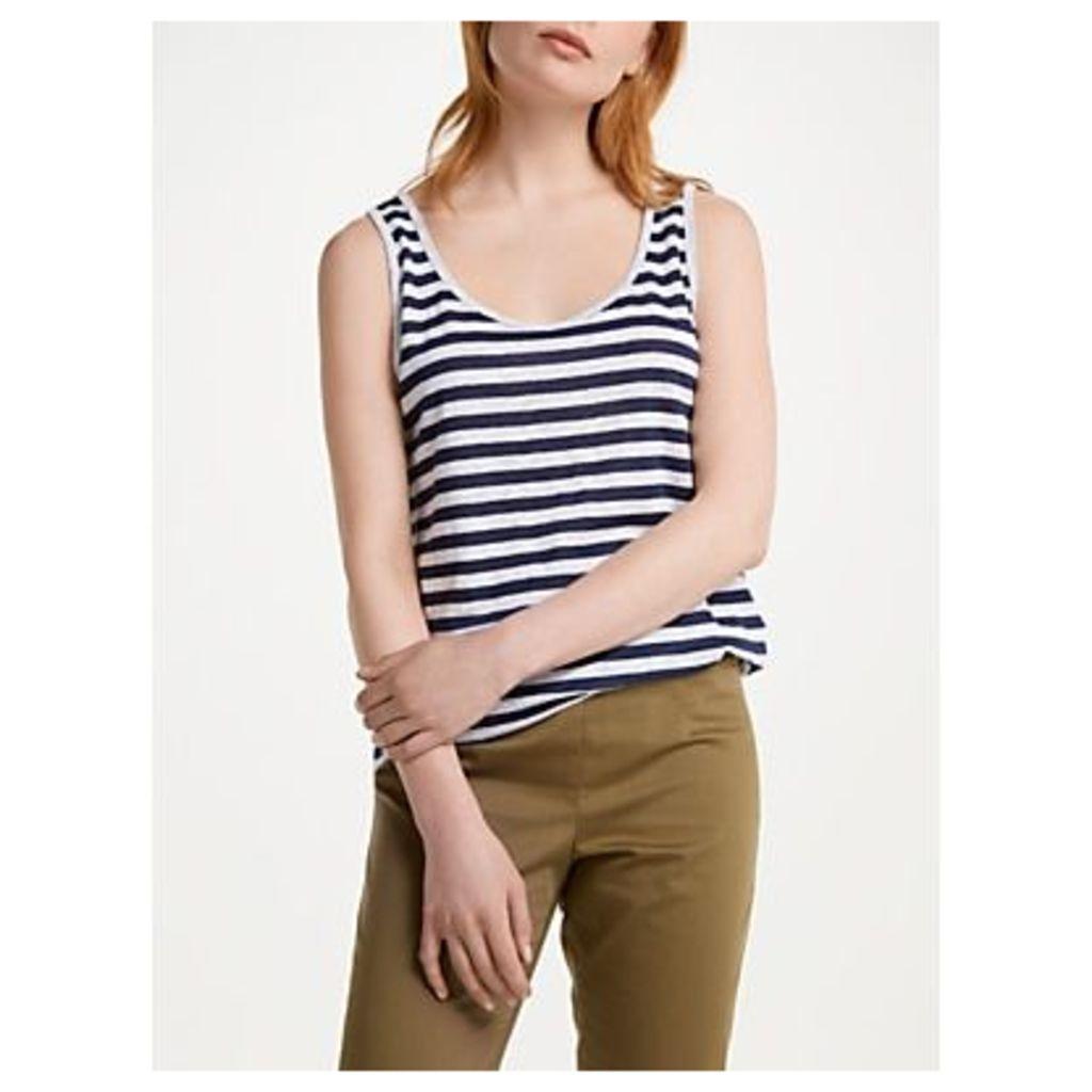 Winser London Pure Linen Striped Vest, Navy