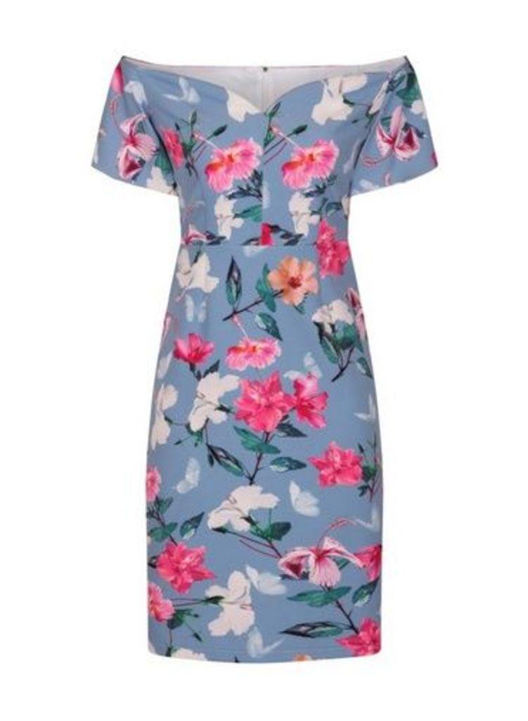 Womens **Paper Dolls Multi Floral Bardot Dress- Multi Colour, Multi Colour