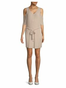 Tie-Waist Cold-Shoulder Dress