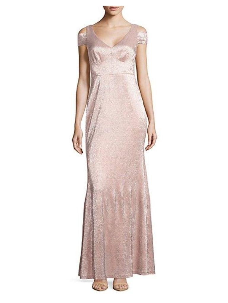 Metallic Cold-Shoulder Gown