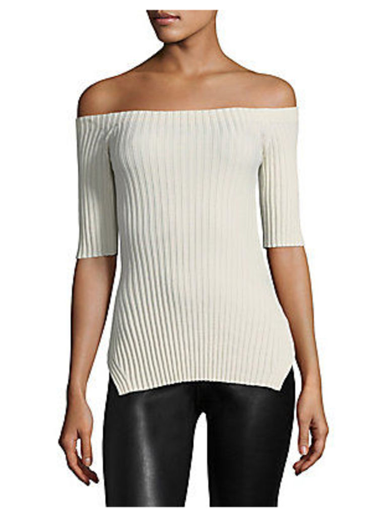 Ribbed Off-the-Shoulder Silk Top