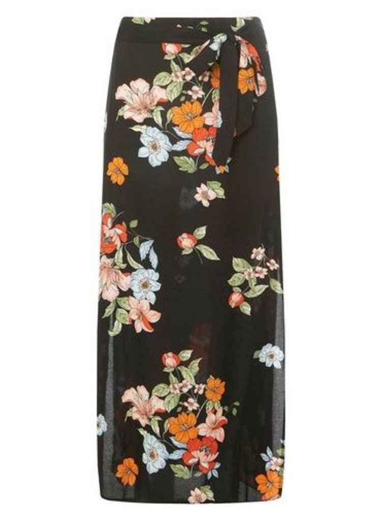 Womens Black Floral Print Woven Maxi Skirt- Black, Black