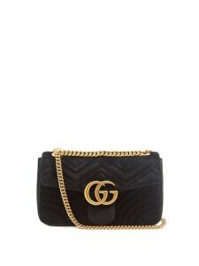 Gucci - Gg Marmont Mini Velvet Quilted Shoulder Bag - Womens - Black