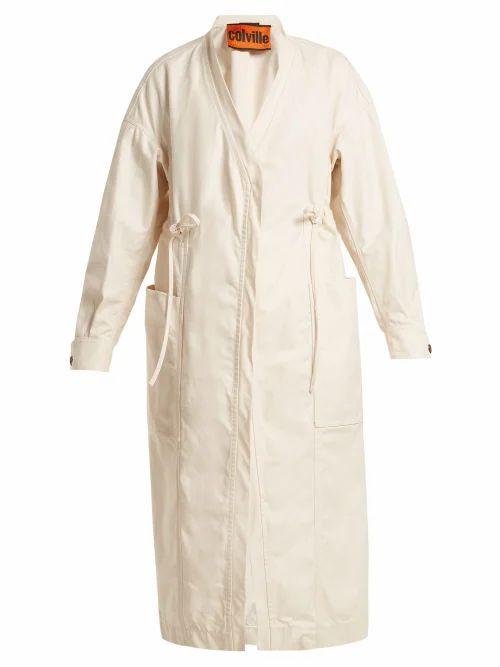 Colville - Tie Waist Cotton Gabardine Parka - Womens - Ivory