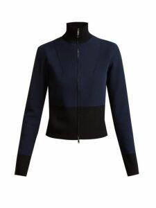 Colville - Long Sleeved Panelled Back Sweater - Womens - Black Blue