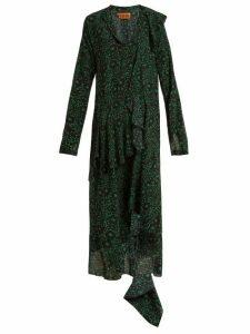 Colville - Floral Print Silk Dress - Womens - Green Print