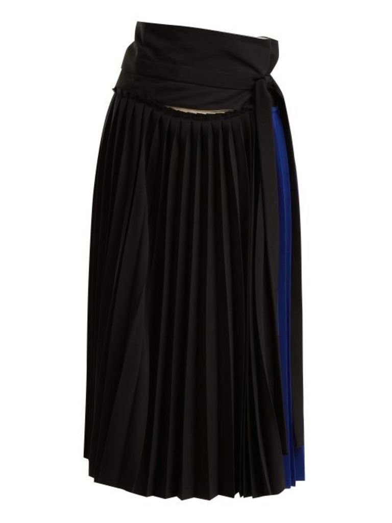 Colville - Tie Waist Pleated Wrap Skirt - Womens - Blue Multi