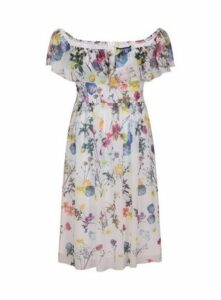 **Little Mistress Multi Colour Floral Print Bardot Dress, Soft Purple