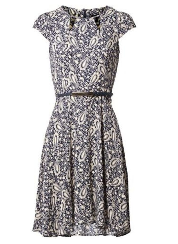 Womens *Izabel London Navy Paisley Print Skater Dress- Navy, Navy