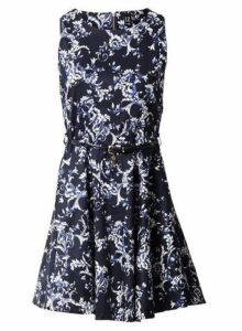 Womens *Izabel London Navy Print Skater Dress- Navy, Navy