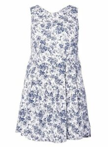 Womens *Izabel London Curve Blue Skater Dress- Blue, Blue