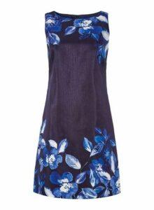 Womens *Roman Originals Navy Floral Border Print Shift Dress- Blue, Blue