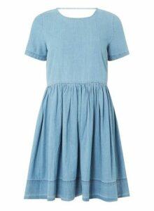 Womens **Vero Moda Blue Denim Skater Dress- Blue, Blue