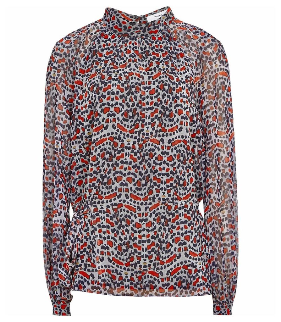 Reiss Sabri - Printed Long-sleeved Blouse in Multi, Womens, Size 14