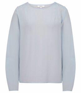 Reiss Lee - Button-detail Silk Blouse in Blue, Womens, Size 14