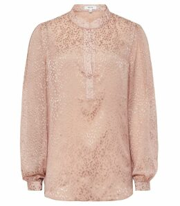 Reiss Brie - Burnout Animal-pattern Blouse in Pink, Womens, Size 14