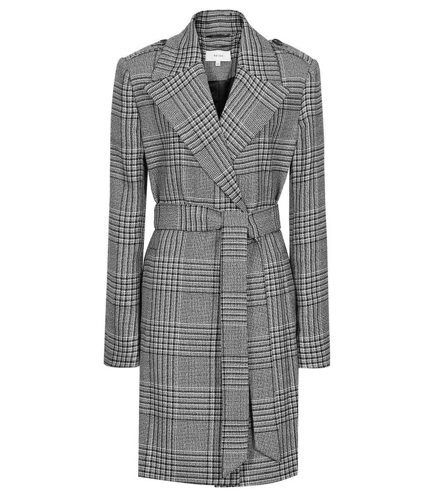 Reiss Shelby - Double-breasted Checked Mac in Black/white, Womens, Size 14