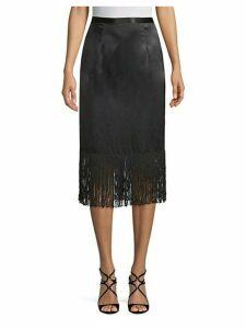 Fringed Silk Skirt