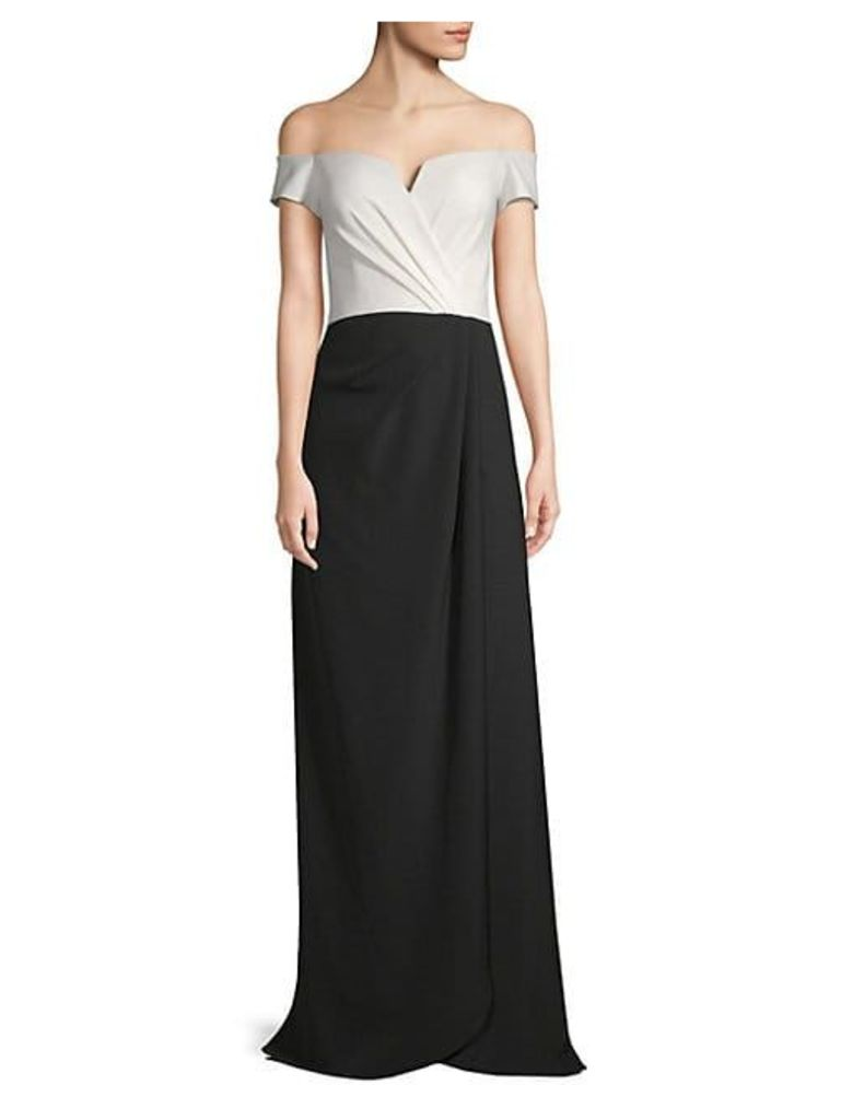 Colorblock Off-The-Shoulder Crepe Gown