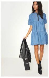 Mid Wash Chambray Tiered Smock Dress, Mid Blue Wash