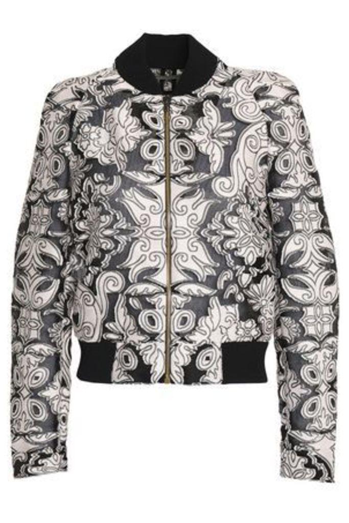 Roland Mouret Woman Fil Coupé Cotton And Silk-blend Bomber Jacket Pastel Pink Size 10