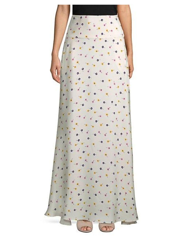 Floral-Print Silk Floor-Length Skirt
