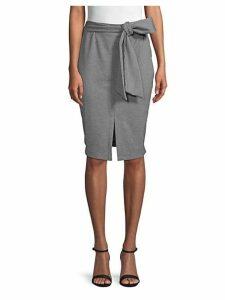 Front Slit Belted Skirt