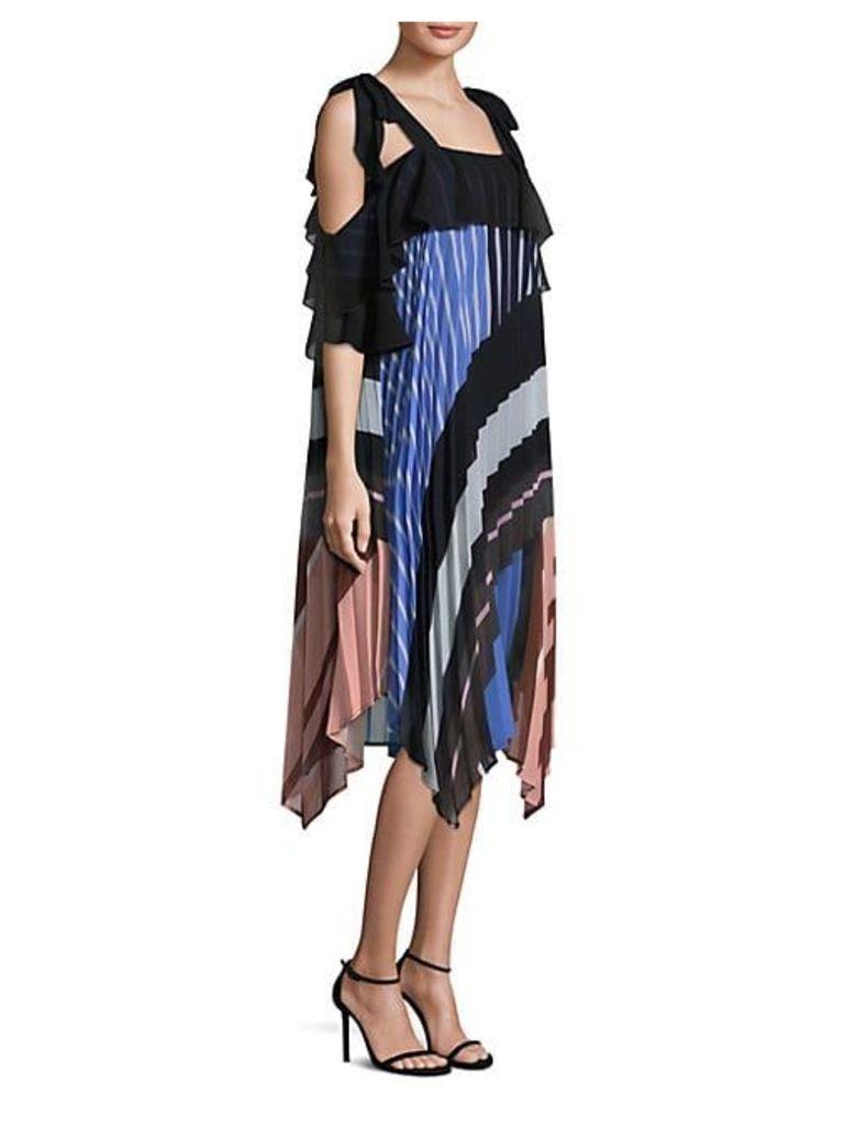 Lola Striped Pleated Shift Dress