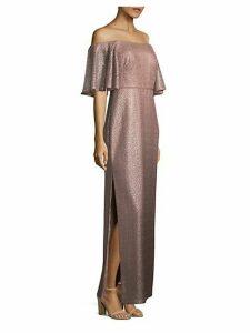 Off-the-Shoulder Metallic Flounce Dress
