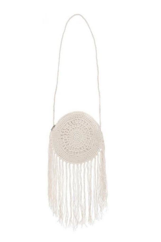 Quiz Cream Crochet Tassel Bag