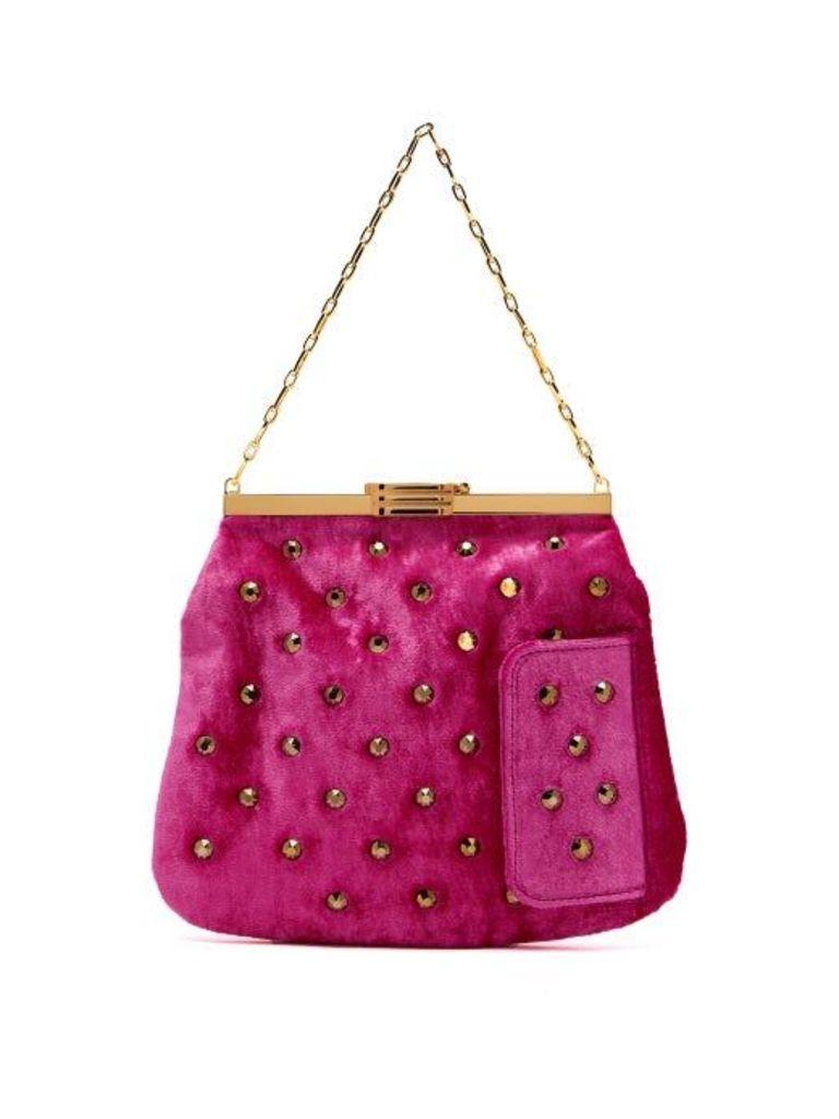 Bienen-davis - 4am Studded Velvet Clutch - Womens - Pink