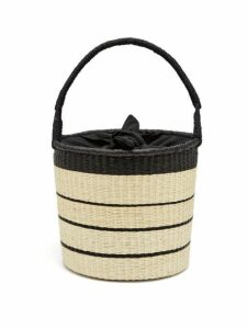 Sensi Studio - Striped Toquilla Straw Basket Bag - Womens - Black Multi