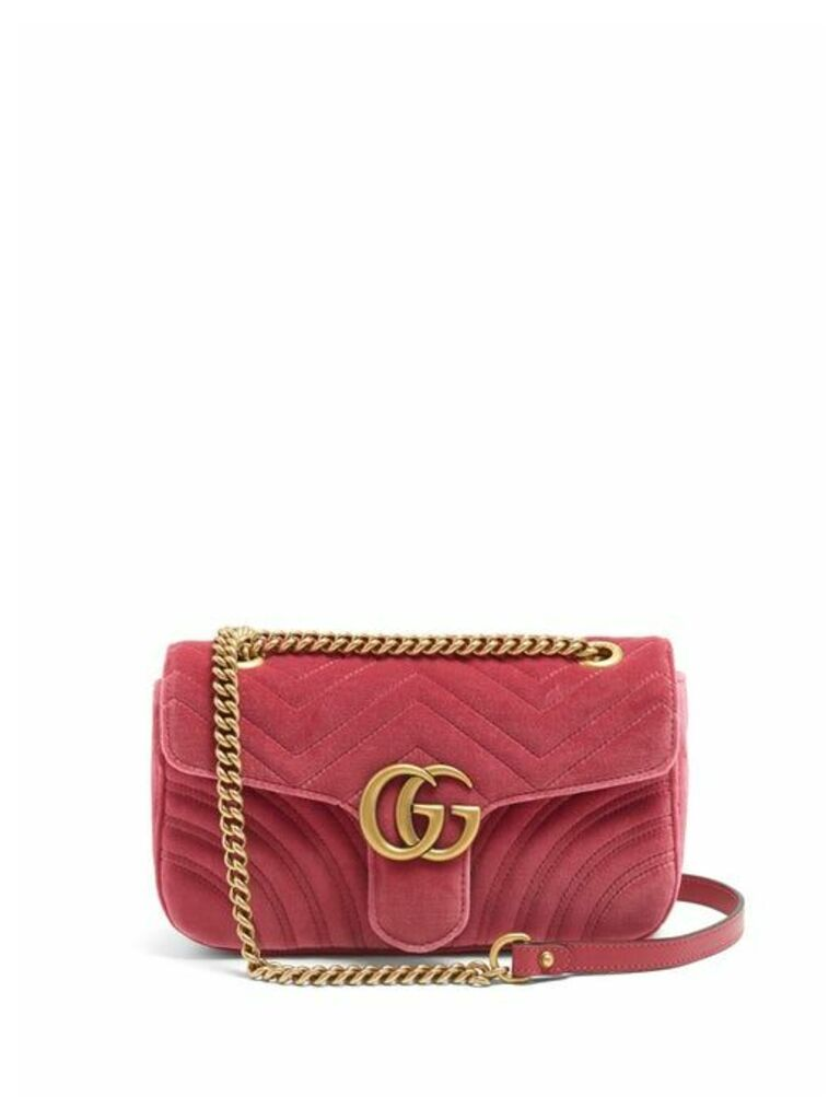 Gucci - Gg Marmont Small Quilted Velvet Cross Body Bag - Womens - Pink