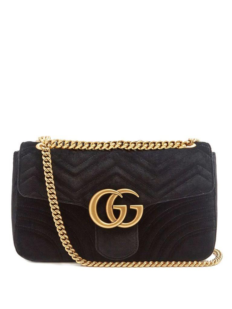 Gucci - Gg Marmont Medium Quilted Velvet Shoulder Bag - Womens - Black