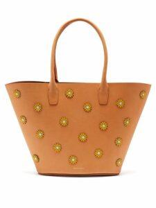 Mansur Gavriel - Sunflower Embellished Leather Tote Bag - Womens - Tan Multi