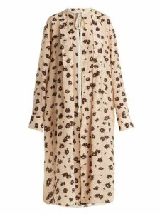Marni - Floral Print Crepe De Chine Silk Dress - Womens - Light Pink