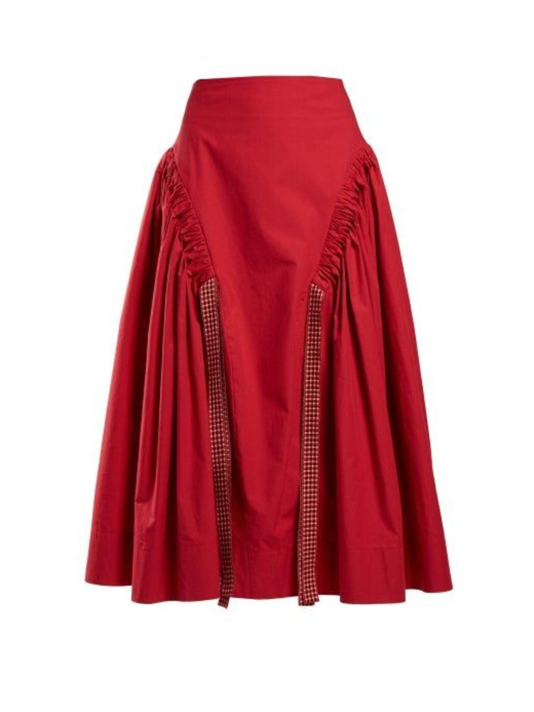 Fendi - Ruched Cotton Skirt - Womens - Red
