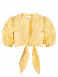Lisa Marie Fernandez - Puff Sleeved Tie Waist Cotton Blouse - Womens - Orange White